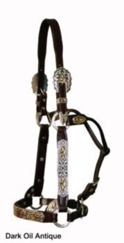 Circle Y Black Gold Filagree Show Halter Hrse Antq
