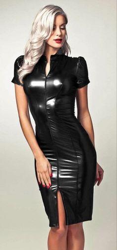 Tight Dresses, Sexy Dresses, Spandex Girls, Looks Pinterest, Vinyl Dress, Latex Dress, Sexy Latex, Leather Dresses, Leather Skirt
