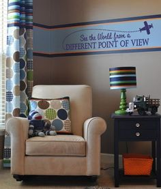 """""""See The World From A Different Point Of View"""" vinyl wall decal with a flying airplane embellishment. See more airplane themed decals at www.lacybella.com"""