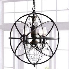 Benita Antique Bronze 4-light Iron Orb Crystal Chandelier - Overstock Shopping - Great Deals on Chandeliers & Pendants