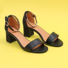 Sandale cu toc Barletta negru #sandale #glitter Heels, Fashion, Heel, Moda, Fashion Styles, High Heel, Fashion Illustrations, Stiletto Heels, High Heels