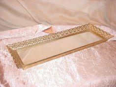 Vintage Hollywood Regency Vanity Tray w Mirror Gold tone Ornate Narrow 7 by 17