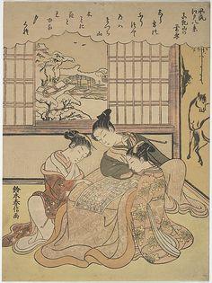 Evening Snow on Matsuchi Hilll, from the series Eight Fashionable Views of Edo (Furyu Edo hakkei); Suzuki Harunobu (Japanese, 1725–1770)