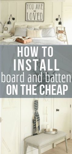 So you want to create a bit of interest to your home decor? Try creating these DIY farmhouse style board and batten walls on the cheap with this step : So you want to create a bit of interest to your home decor? Try creating these DIY farmhouse style boar Easy Home Decor, Cheap Home Decor, Home Improvement Projects, Home Projects, Board And Batten, Diy Wall Shelves, Design Furniture, Wall Treatments, Home Renovation