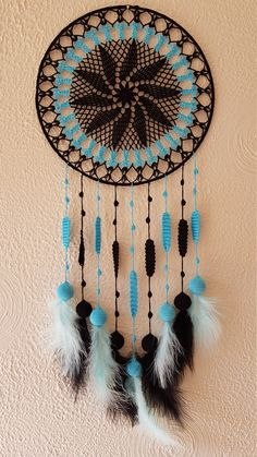 Unique Wall Decor, Black Dream Catcher, Black Wall Hanging Decor, Black Home Decor, Black Dream Catcher/ Sandycraft Big Dream Catchers, Doily Dream Catchers, Black Dream Catcher, Dream Catcher Craft, Dream Catcher Tutorial, Crochet With Cotton Yarn, Crochet Dreamcatcher, Dream Catcher Native American, Crochet Towel