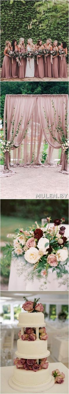 Dusty rose fall wedd