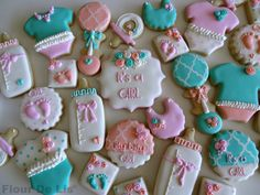 "Consider - 'it's a boy"" cookies. Beautiful baby shower cookies by Flour-De-Lis Shower Bebe, Baby Shower Fun, Baby Shower Gender Reveal, Girl Shower, Baby Shower Parties, Cupcakes, Cupcake Cookies, Sugar Cookies, Cookies Decorados"