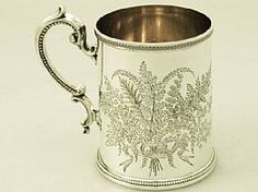 A fine antique Victorian English sterling silver christening mug; part of our silverware collection http://www.acsilver.co.uk/shop/pc/Sterling-Silver-Christening-Mug-Antique-Victorian-65p2860.htm