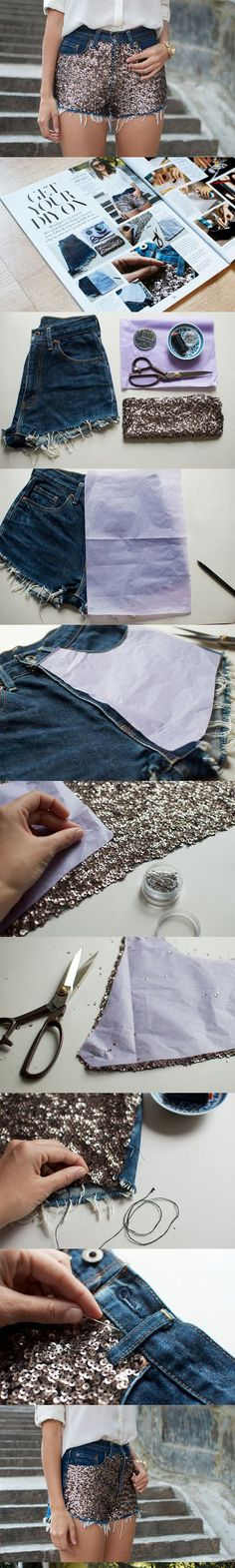 DIY Sequin Embellished Denim Shorts