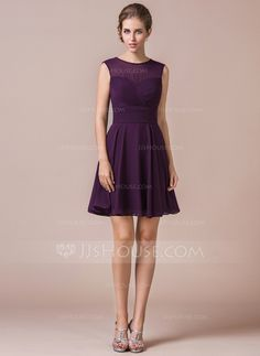 A-Line/Princess Scoop Neck Short/Mini Chiffon Bridesmaid Dress With Ruffle (007054331)