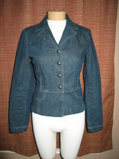 Casual Corner Blue Jean Jacket Button Down Womens Sz 4 #CasualCorner #Blazer http://stores.ebay.com/Castys-Collectibles?_dmd=2&_nkw=jean+jacket