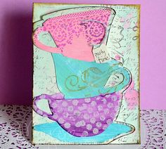 Ever After High inspired party invitation featuring Tim Holtz teacup dies with full video tutorial