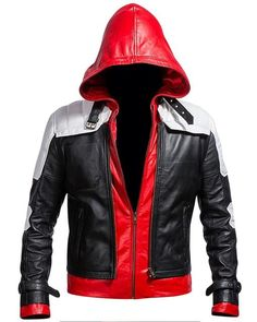 Buy Cup Of Fashion Men's Biker Leather Jacket - Slim Fit Style Leather Costume Men online - Topusshop Black Leather Motorcycle Jacket, Biker Leather, Faux Leather Jackets, Lambskin Leather, Red Hood Costume, Batman Red Hood, Black And White Costume, Red Hood Jason Todd, White Costumes
