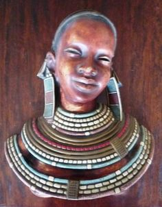 """LARGE ~ ACHATIT ~ MID CENTURY ~ MASAI HEAD ~ BUST SCULPTURE ~ MADE IN GERMANY ~ IT IS IMPRESSED WITH THE WOORD """"ACHATIT"""" ~ iT MEASURES APPROX. 13 5/8 INCHES BY 12 1/2 INCHES ~ MADE OF HOLLOW RESIN ~ fIBRE GLASS TYPE MATERIAL Sculptures, Resin, Germany, Porcelain, Mid Century, Bronze, Statue, Type, Glass"""