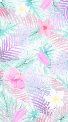 floral wallpaper, palm tree leaves, pink and white flowers, girly wallpapers Do yourself a favor and pick one of 90 cute wallpapers to decorate your phone with that will make you long for summer even after it's gone. Cute Computer Backgrounds, Backgrounds Girly, Cute Wallpaper Backgrounds, Aesthetic Iphone Wallpaper, Aesthetic Wallpapers, Wallpaper Ideas, Wallpaper Pastel, Watercolor Wallpaper Iphone, Cute Girl Wallpaper
