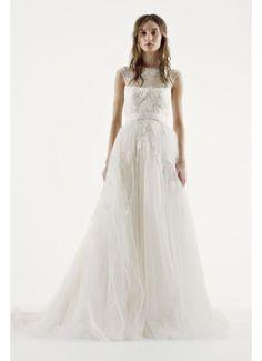 White by Vera Wang Illusion Neckline Wedding Dress VW351242
