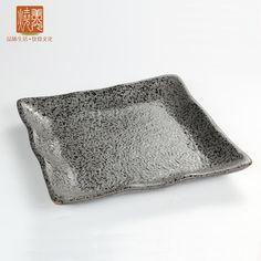 Japanese&Korean style restaurant kitchenware&stoneware square dinner plate E438-21  Size 1: length 17 x width 17 cm x height 2.3 cm Size 2: length 22.5 x width 22.5 cm x height 2.8 cm