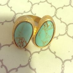 Gold and turquoise ring Size 7, never worn. Perfect for festivals! Costume jewelry so the stones/gold are not real. Express Jewelry Rings