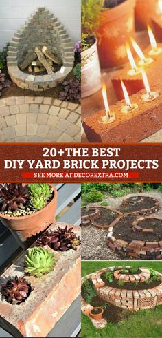 Old bricks projects for your backyard. Looking for things to do with old bricks? There are a lot of beautiful DIY backyard projects can be finished with Brick Crafts, Brick Projects, Diy Projects Cans, Diy Garden Projects, Diy Garden Decor, Cool Diy, Diy Yard Furniture, Outdoor Furniture, Brick Yard