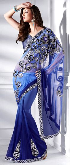 Shaded #Blue Net #Saree with #blouse | $94.37 | Shop Here: http://www.utsavfashion.com/store/sarees-large.aspx?icode=sws4137
