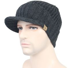 JOYEBUY Mens Outdoor Newsboy Hat with Visor Winter Warm Thick Knit Beanie  Cap Gorro De Tricô 60740ae683d