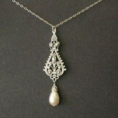 Antique Silver Filigree and Pearl Necklace Sterling by luxedeluxe, $34.00  I LOVE THIS, would look GREAT with my MOH dress :)