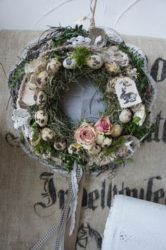 A magically beautiful natural wreath for indoor use (because of the toroc . - A magically beautiful natural wreath for indoor use (because of the dried roses) …. Moss and hay - Easter Flower Arrangements, Floral Arrangements, Greenery Wreath, Floral Wreath, Diy Wreath, Grapevine Wreath, Easter Wreaths, Christmas Wreaths, Easter Arts And Crafts