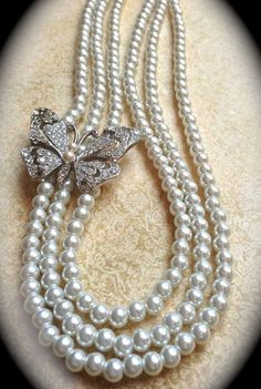 Pearl and Diamond Three-Strand Butterfly Necklace