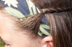 Securing a headband- I just did this to Marilyn's hair! We may be doing this a lot to keep her bangs out of her face this summer while they grow out!