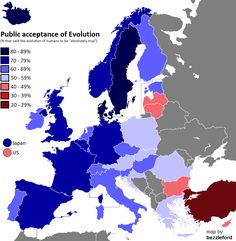 Public acceptance of Evolution in Europe 2006 [x-post from r/MapPorn] European Map, European History, Living In Europe, City Maps, Us Map, Countries Of The World, European Countries, Acceptance, Nerd