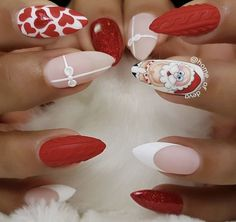 Cute Macaron Stiletto Nails Designs for Winter Season When making your Nail designs for spring winter summer and fall, you may do decals for all your Winter Nail Designs, Christmas Nail Designs, Cute Nail Designs, Acrylic Nail Designs, Cute Christmas Nails, Holiday Nails, Santa Christmas, Christmas Quotes, Santa Nails