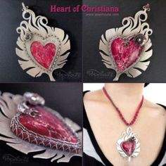 Feather Heart Pendant Necklace by popnicute on @DeviantArt