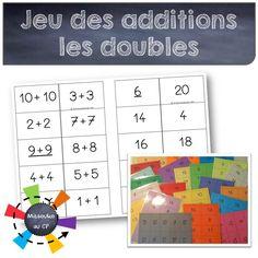 Mise à jour du jeu des additions : 5 fiches pour travailler les doubles et et 10 fiches d'additions plus simples pour le premier trimestre au CP.