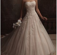 Off white ball gown with lace detailing
