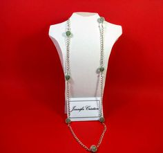 Handmade necklace with chain and grenn pearl par JenniferCreation