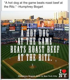 This makes me smile. A hot dog at a ball game, with a cold beer, is the best. :)