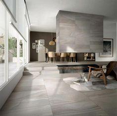 carrelage interieur, carrelage aspect beton et foyer ouvert