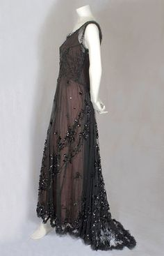 Beaded Tulle Evening Dress Gown c. 1912-1915