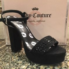 "NWB Juicy Couture Black Platform Bling Heels 7.5 Brand new in original box, will be used to ship. Black embellished 6"" heels. The heels are covered in rhinestones as well as the strap across the toes. Buckle ankle strap. Sorry no trades. Juicy Couture Shoes Platforms"
