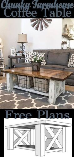 Plans of Woodworking Diy Projects - DIY Chunky Farmhouse Coffee Table - DIY Woodworking Plans – HandmadeHaven Get A Lifetime Of Project Ideas & Inspiration! Modern Glass Coffee Table, Rustic Coffee Tables, Diy Coffee Table, Decorating Coffee Tables, Diy Table, Coffee Table Storage, Barnwood Coffee Table, Unique Coffee Table, Coffee Table Makeover