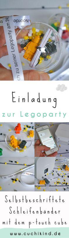 Einladung zur Legoparty aus Acrylkugeln und Legowachsmalern. Mit selbstbeschrifteten Schleifenbändern mit dem p-touch cube von Brother. Mit Video-Tutorial und Verlosung. #werbung #brother #ptouch #kindergeburtstag #legoparty