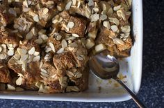 Raisin-Studded Apple & Almond Bread Pudding