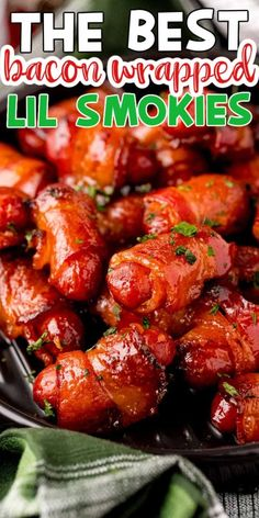 Little Smokies Recipes, Bacon Wrapped Little Smokies, Bacon Wrapped Shrimp, Bacon Wrapped Dates, Pork Sliders, Fruit Salsa, Easy Appetizer Recipes, Holiday Recipes, Christmas Appetizers