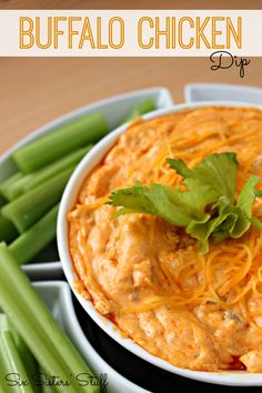 Buffalo Chicken Dip from SixSistersStuff.com. Perfect for the next big game!