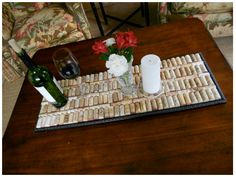 Line a serving tray with corks. Use as a hot plate or table centerpiece?