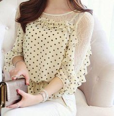 $7.94 Chic Style Round Collar Lace Splicing Polka Dot Print Chiffon Blouse For Women