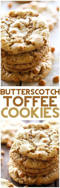Butterscotch Toffee Cookies ~ A cookie made with cake mix that is delicious & CRISPY! These cookies are packed with Butterscotch and Toffee flavor and are absolutely irresistible! Toffee Cookies, Cake Mix Cookies, Keto Cookies, Yummy Cookies, Chocolate Chip Cookies, Yummy Treats, Cookies Et Biscuits, Butterscotch Cookies, Cupcakes