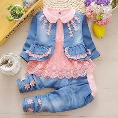 Baby Girl Toddler Denim Coat + Cotton Lace Shirt + Jeans Clothes Outfit Set – Outfit Ideas for Girls Baby Girl Fashion, Toddler Fashion, Fashion Kids, Toddler Outfits, Kids Outfits, Cute Outfits, Baby Outfits, Fashion Clothes, Fall Fashion