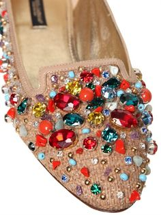 DOLCE & GABBANA - 10MM CANVAS CRYSTAL BEADS LOAFERS - LUISAVIAROMA - LUXURY SHOPPING WORLDWIDE SHIPPING - FLORENCE