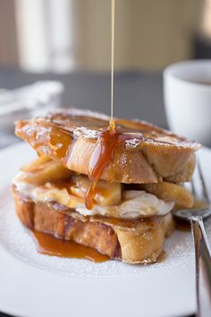 "Is this breakfast or dessert? Caramel Apple ""Stacked"" French Toast with Brown Sugar-Caramelized Orchard Apples & Spiced Cream Cheese, Drizzled with Warm, Maple-Caramel Syrup What's For Breakfast, Breakfast Dishes, Breakfast Recipes, Morning Breakfast, Caramel Recipes, Apple Recipes, Apple French Toast, Caramel Apples, Brunch Recipes"